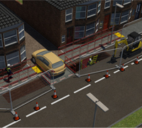 Animation from above of MGF Trenchsafe equipment installed near a car on a public street