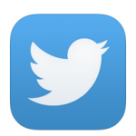 White and blue Twitter social media icon