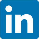 White and blue LinkedIn social media icon