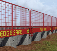 Animation of red MGF Edgesafe equipment installed at an excavation