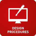 White computer screen with a paintbrush on a red background with 'Design Procedures' at the bottom