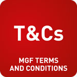 White text saying 'T&C's MGF Terms And Conditions' on a red background