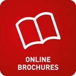 White open book with 'Online Brochures' text at the bottom and a red background