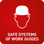 White outline of a mans face wearing a hardhat with the words 'Safe Systems of Work Guides' on a red background