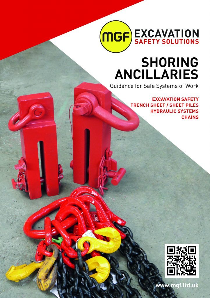 Front cover of MGF Shoring Ancillaries brochure containing a picture of red lifting chains