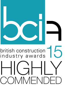 Blue, white and black BCI15 logo for the British construction industry awards