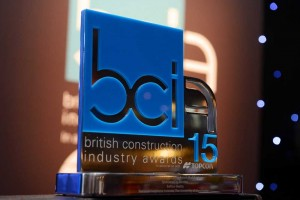 Up close photo of metal BCI15 award trophy with blue colouring