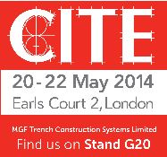 Red and white CITE logo announcing event details for MGF 20-22 May 2014