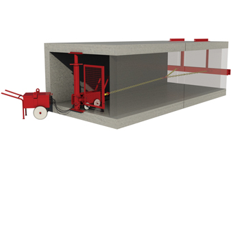 Product animation of MGF culvert puller 340 installed in a concrete pipe
