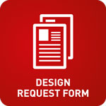 White animation of forms on a red background with the text 'Design Request Form' below