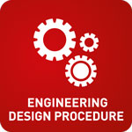 White animation of three cogs on a red background with 'Engineering Design Procedure' at the bottom