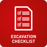 White animation of a tick box form with 'Excavation Checklist' on a red background
