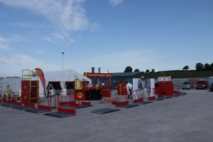 Display of MGF eqiupment and white tents at a yard set up for the Exeter depot open day