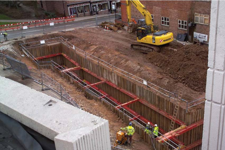 Grand Arcade Wigan Case Study   Wigan Civic Centre Sheet Piled Cofferdam