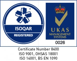 ISOQAR certification stamp on a white background