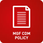 White animation of a form with 'MGF CDM Poicy' at the bottom on a red background