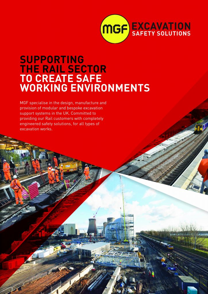 Front cover artwork of MGF brochure Supporting the Rail Sector