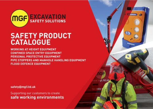Front cover artwork of MGF Safety Product Catalogue brochure