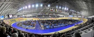 Panoramic view of the inside of Manchester Velodrome during an event