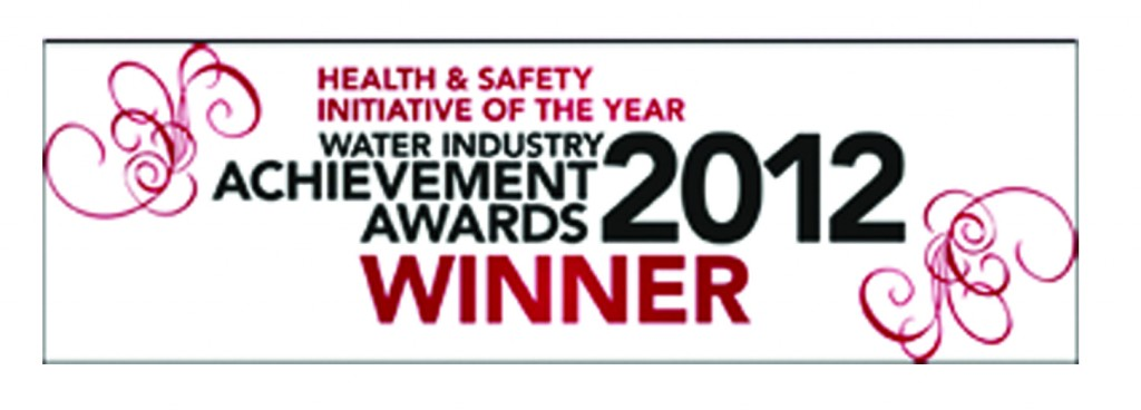 Black and red Water Industry Achievement Awards 2012 Winner logo stamp on a white background
