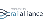 Light and dark blue Rail Alliance logo on a white background