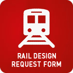 White train animation icon with 'Rail Design Request Form' at the bottom on a red background