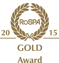 Gold RoSPA 2015 Gold Award logo stamp on a white background