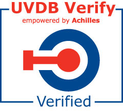 Red and blue UVDB verified logo stamp on a white background