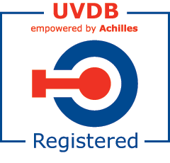 Red and blue UVDB Registered stamp on a white background