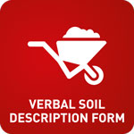 White animation of a loaded wheelbarrow in a red background with the words 'Verbal Soil Description Form'