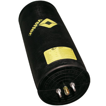 Up close product animation of an MGF black and yellow vetter oil resistant pipe stopper on a white background