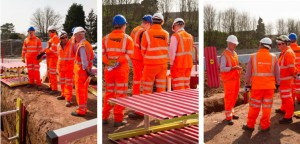 Three side by side images of a group of men in high vis gear standing over an excavation with MGF products