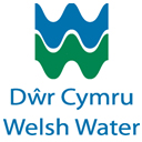 Blue and green Welsh Water logo on a white background