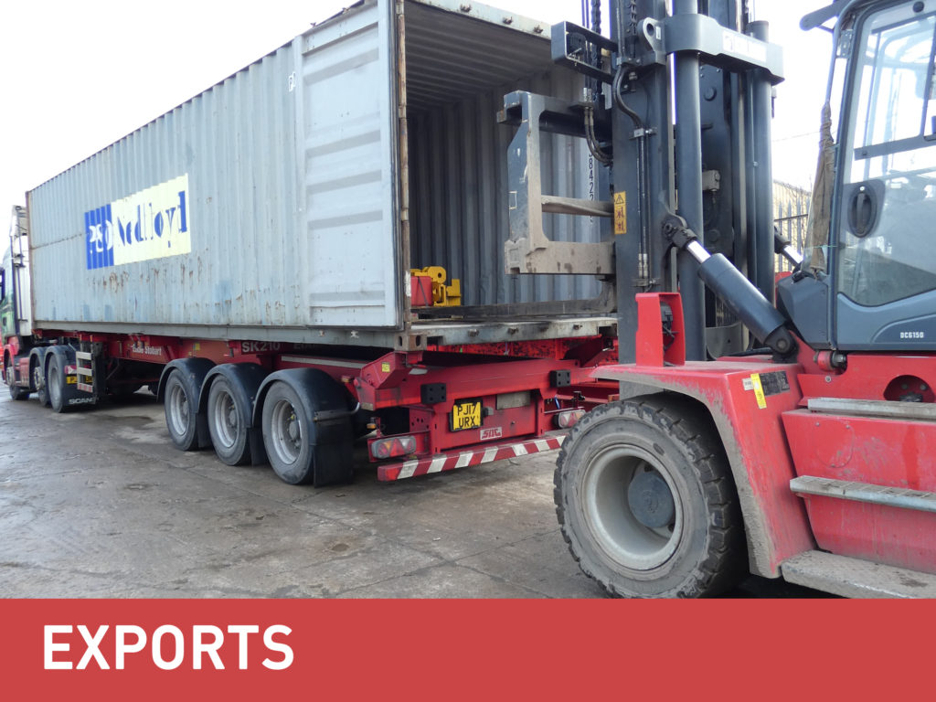 MGF exports category banner underneath an image of a truck being loaded with MGF equipment