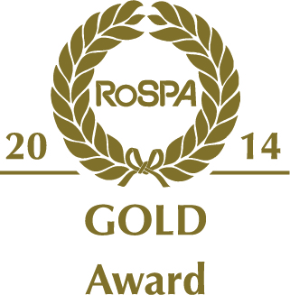 Dark gold RoSPA 2014 Gold Award stamp on a white background