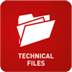 Animated file icon with 'Technical Files' at the bottom on a red background