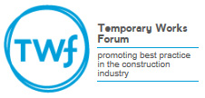 Blue Temporary Works Forum logo with black writing on a white background