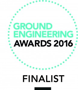 Green and black Ground Engineering Awards 2016 Finalist logo stamp on a white background