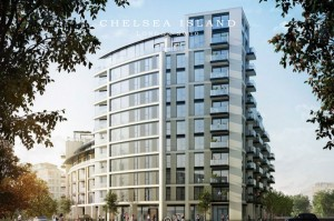 Promotional photo of Chelsea Island apartment building in London