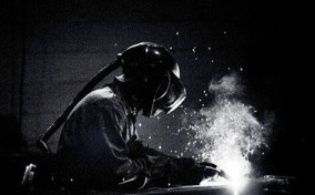 Black and white photo of welder