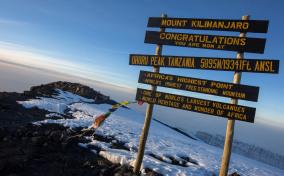 Tanzania Mt Kilimanjaro Summit Sign Sunrise scaled