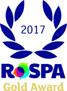 Blue and gold ROSPA Gold Award logo on a white background