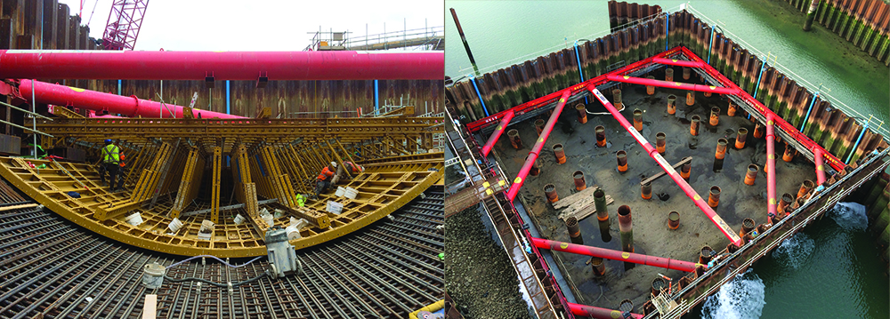 Two images side by side of a cofferdam with MGF props and braces supporting the structure