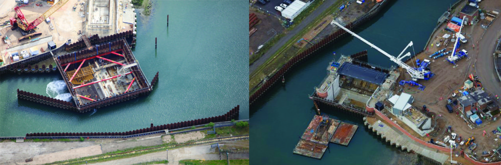Two aerial images side by side of cofferdam in Ipswich