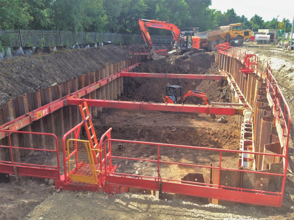 Site excavation showing diggers, MGF sheets, braces and Edgesafe equipment