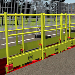 Animation of yellow MGF Edgesafe GRP installed at an excavation