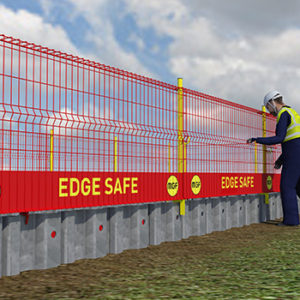 Animation of MGF Edgesafe put up onsite by worker