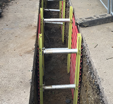 MGF GRP Trench Box installed at an excavation on site