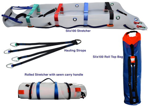 Diagram of slix 100 stretcher kit on a white background