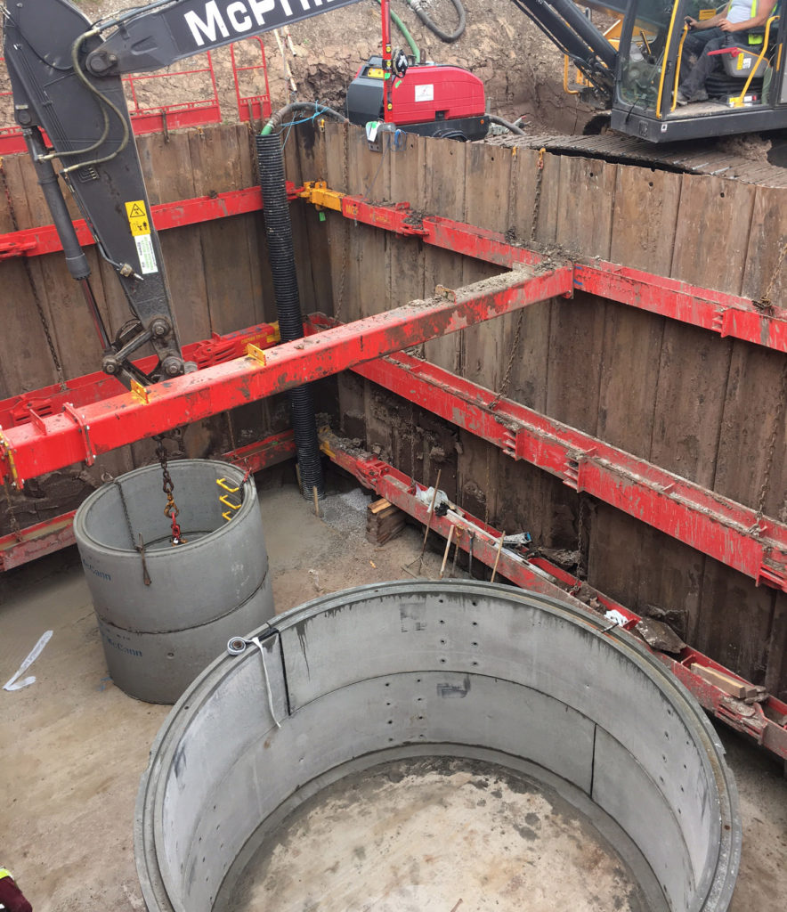 MGF hydraulic brace pictured onsite installed at an excavation